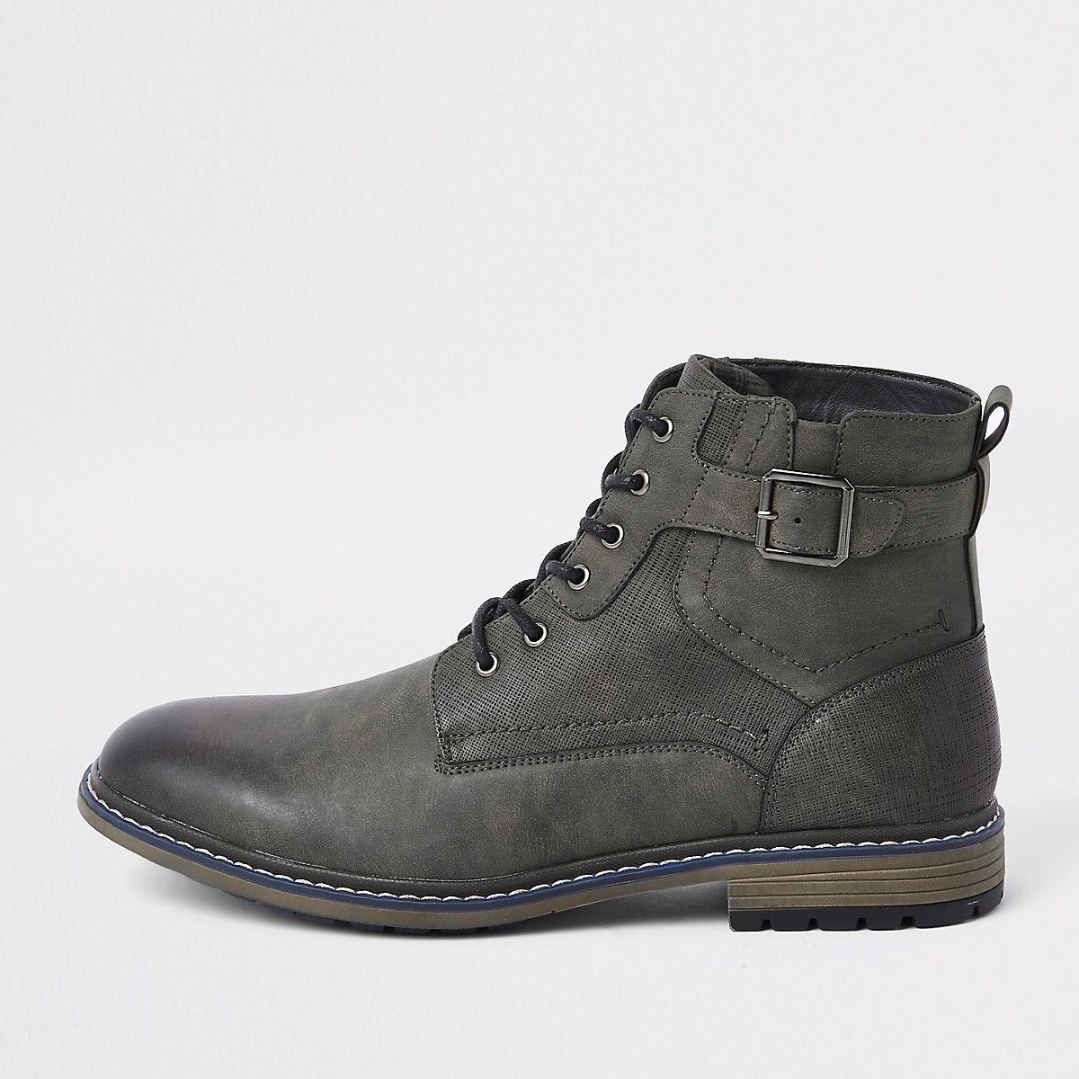 Dark grey lace-up buckle military boots