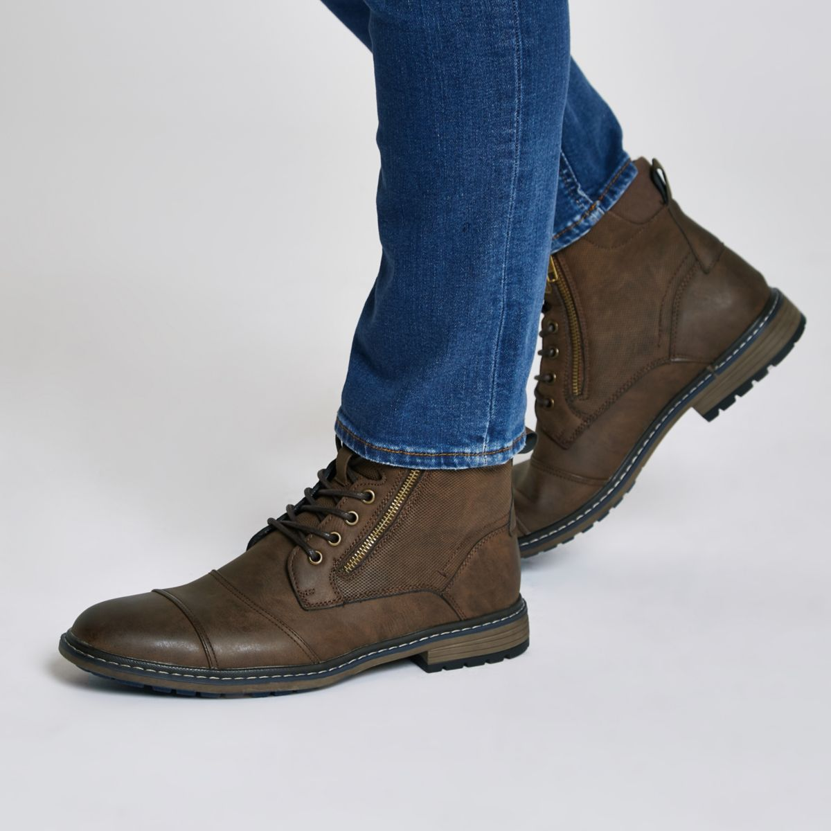Dark brown lace-up military boots