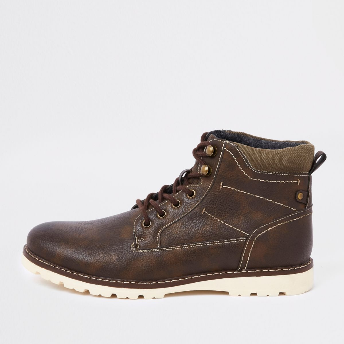 Dark brown faux leather lace-up boots