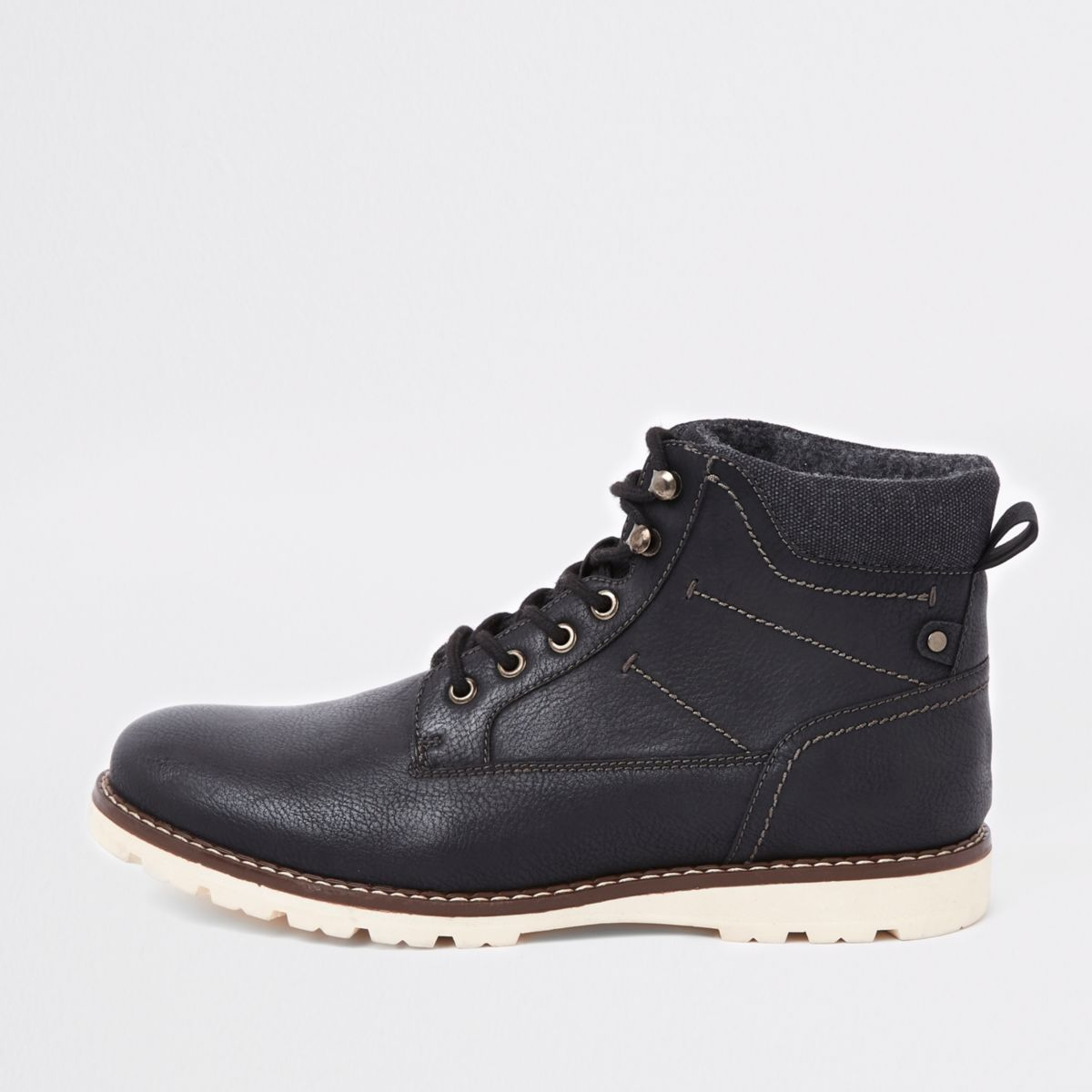 Black lace-up work boots