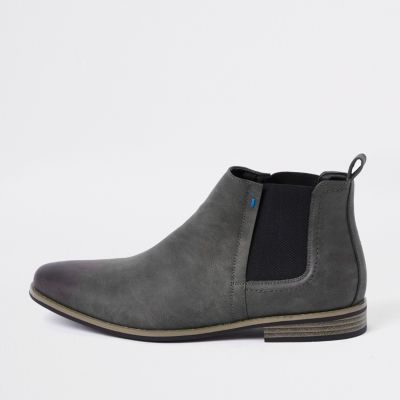Dark Grey Chelsea Boots by River Island