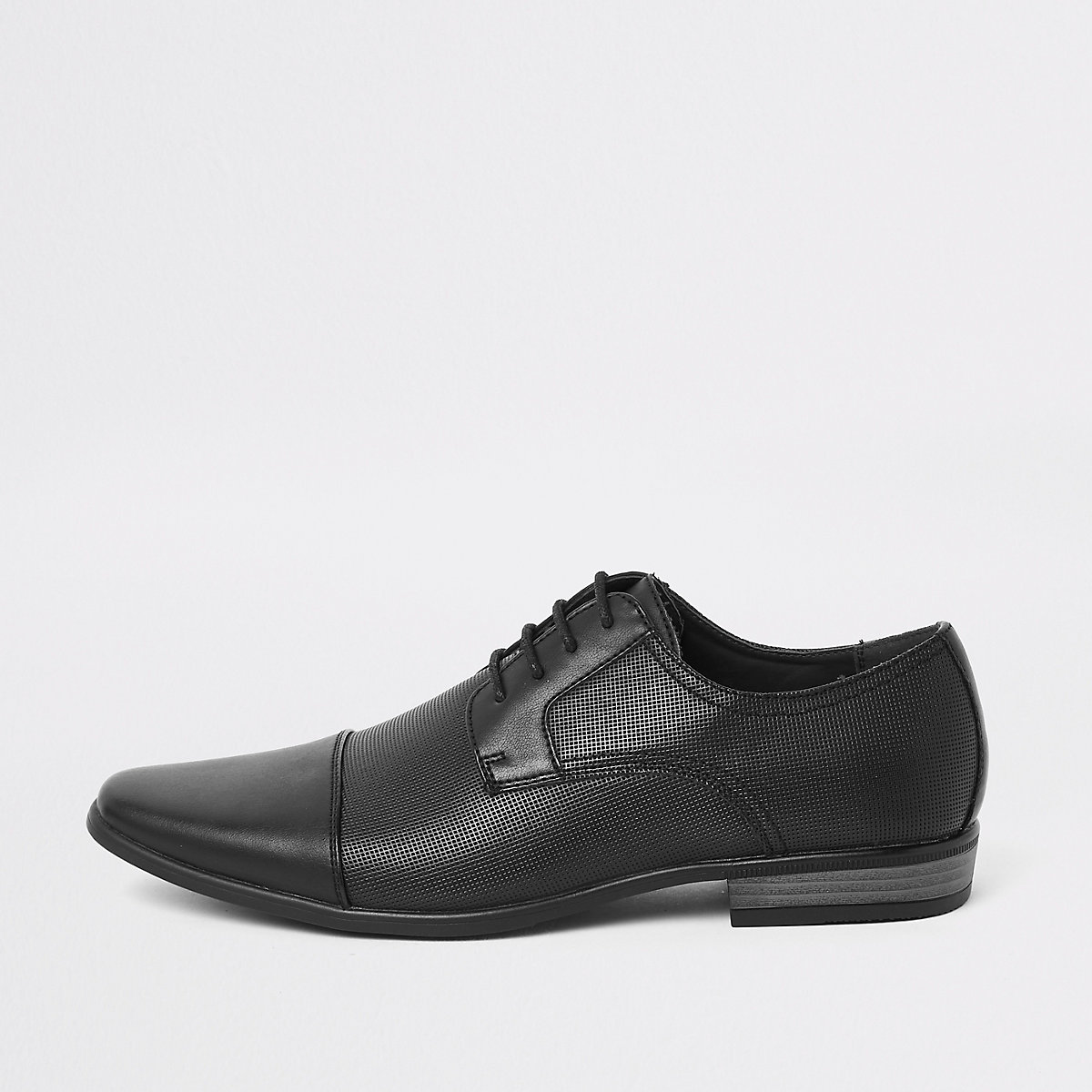 Black embossed toecap lace-up shoes