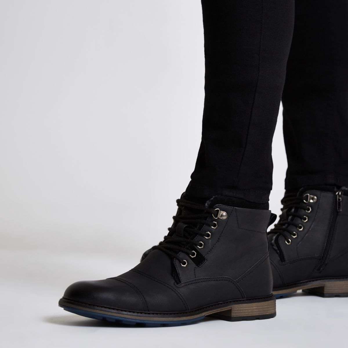 Black lace-up fleece lined military boots
