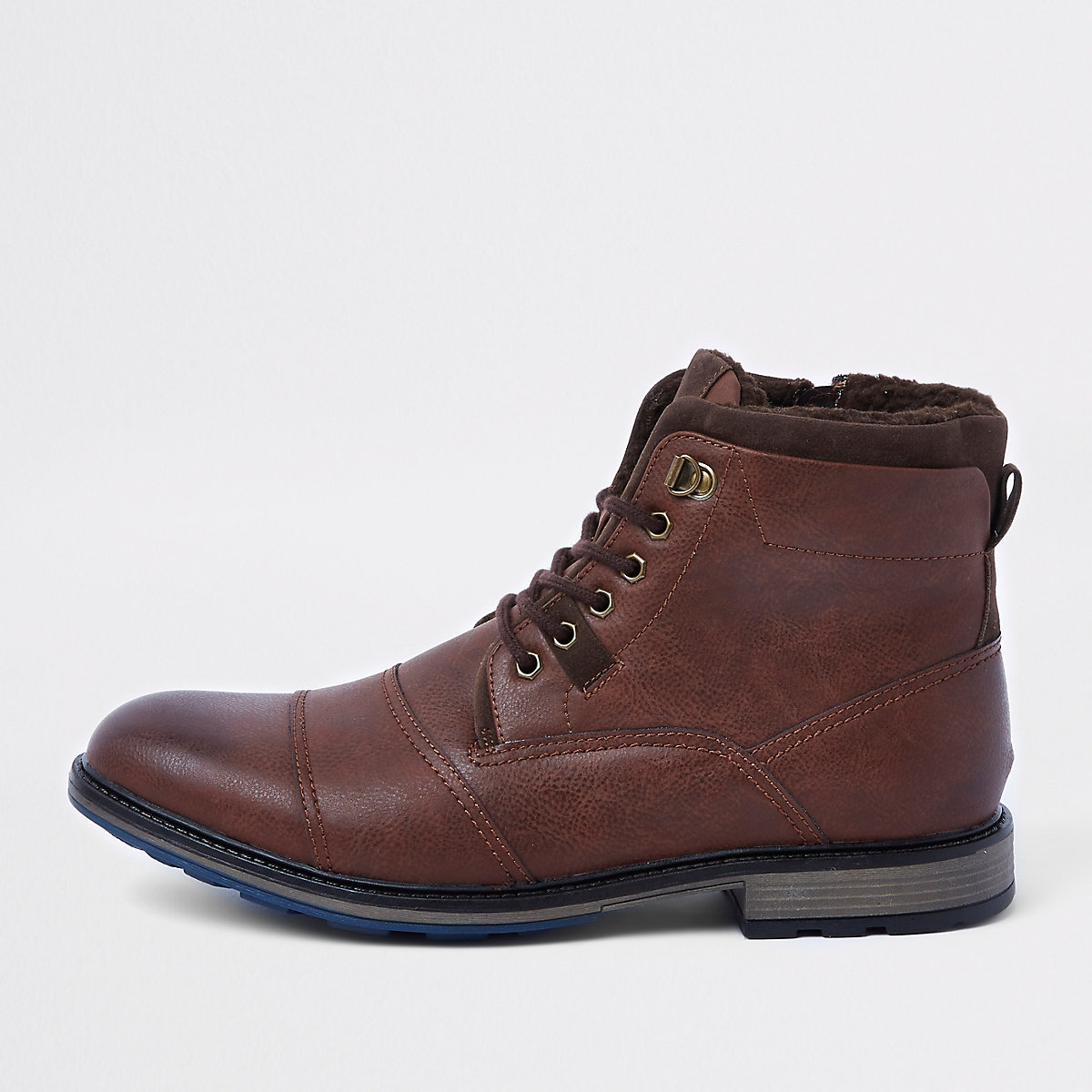 Brown lace-up fleece lined military boots