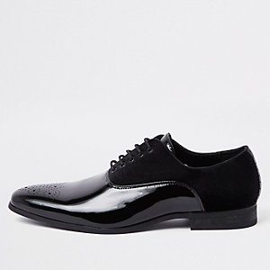 Black velvet panel lace-up derby shoes