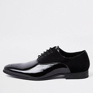 Chaussures derby noires à lacets avec empiècement en velours