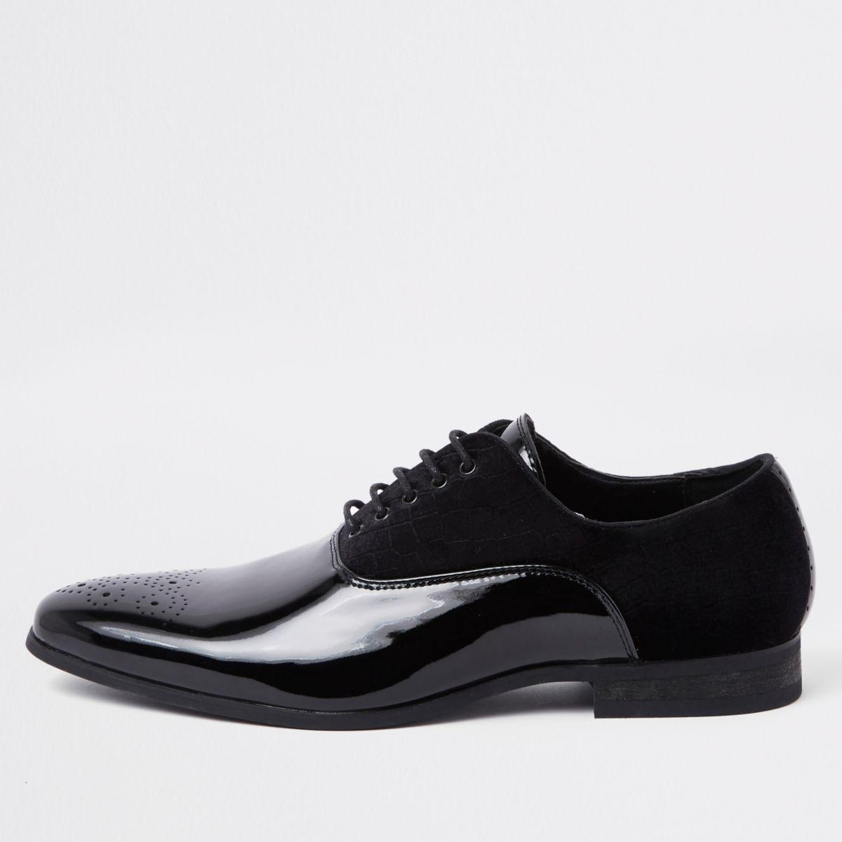 Black velvet panel lace-up derby shoes