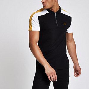 Black color block wasp pique polo shirt