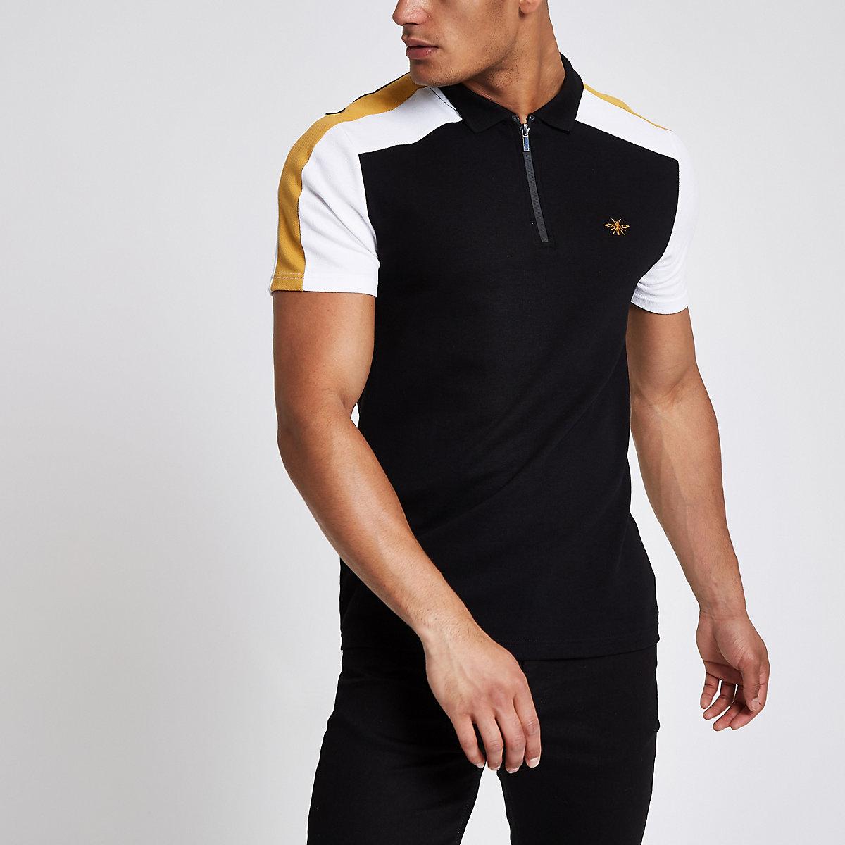 Black colour block wasp pique polo shirt
