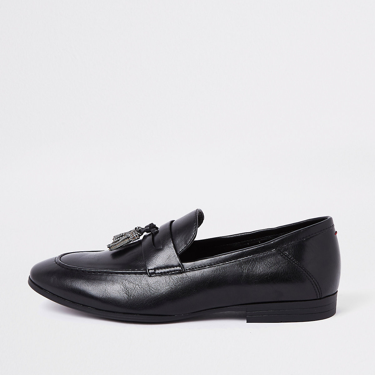Black check print tassel loafers