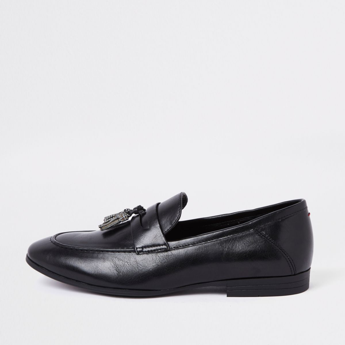 Black check print tassel loafers