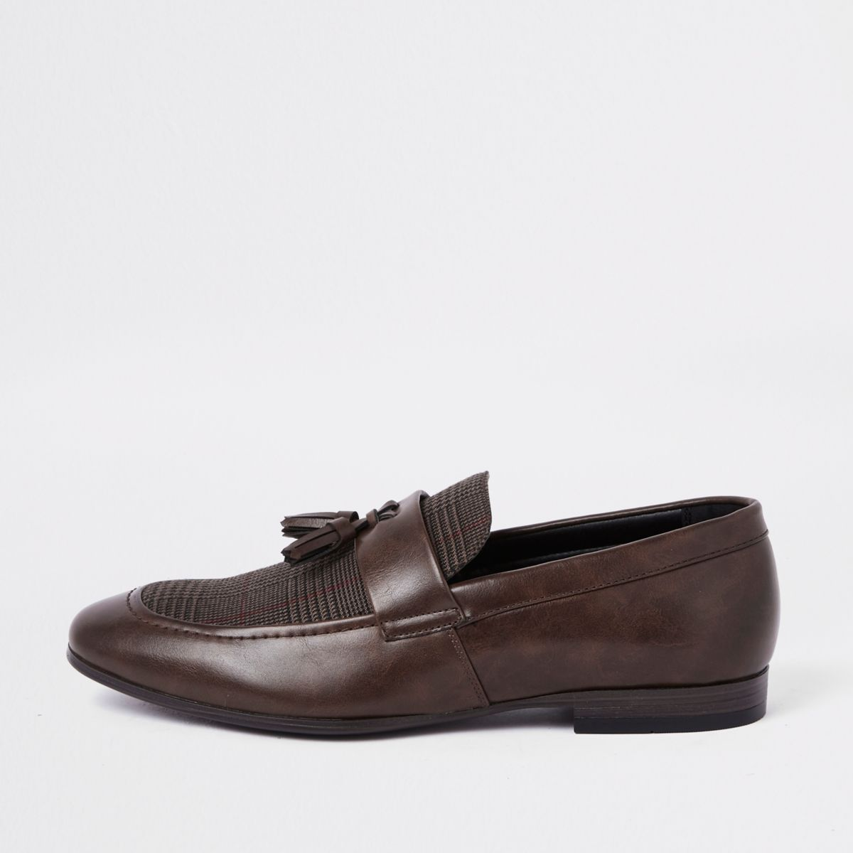 Brown check print tassel loafers