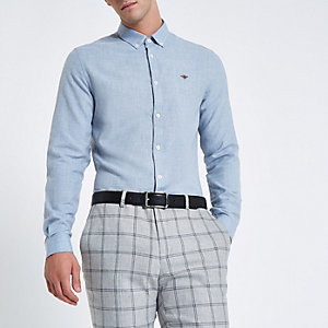 Lichtblauw flanellen overhemd met lange mouwen