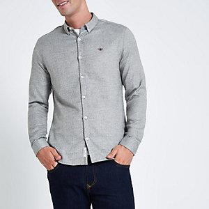 Grijs overhemd met visgraatmotief, wespenprint en knopen
