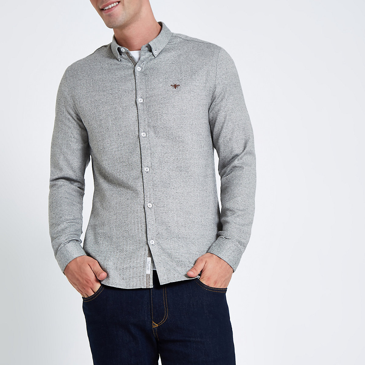 Grey herringbone wasp button up shirt
