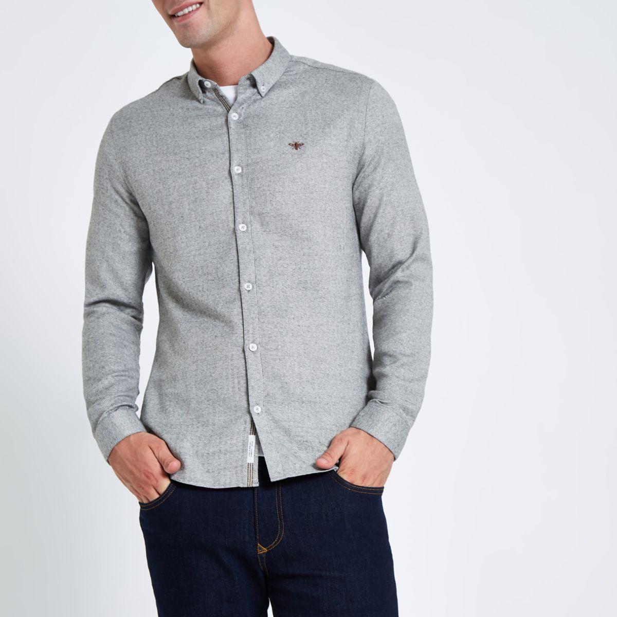 Grey herringbone wasp button up shirt