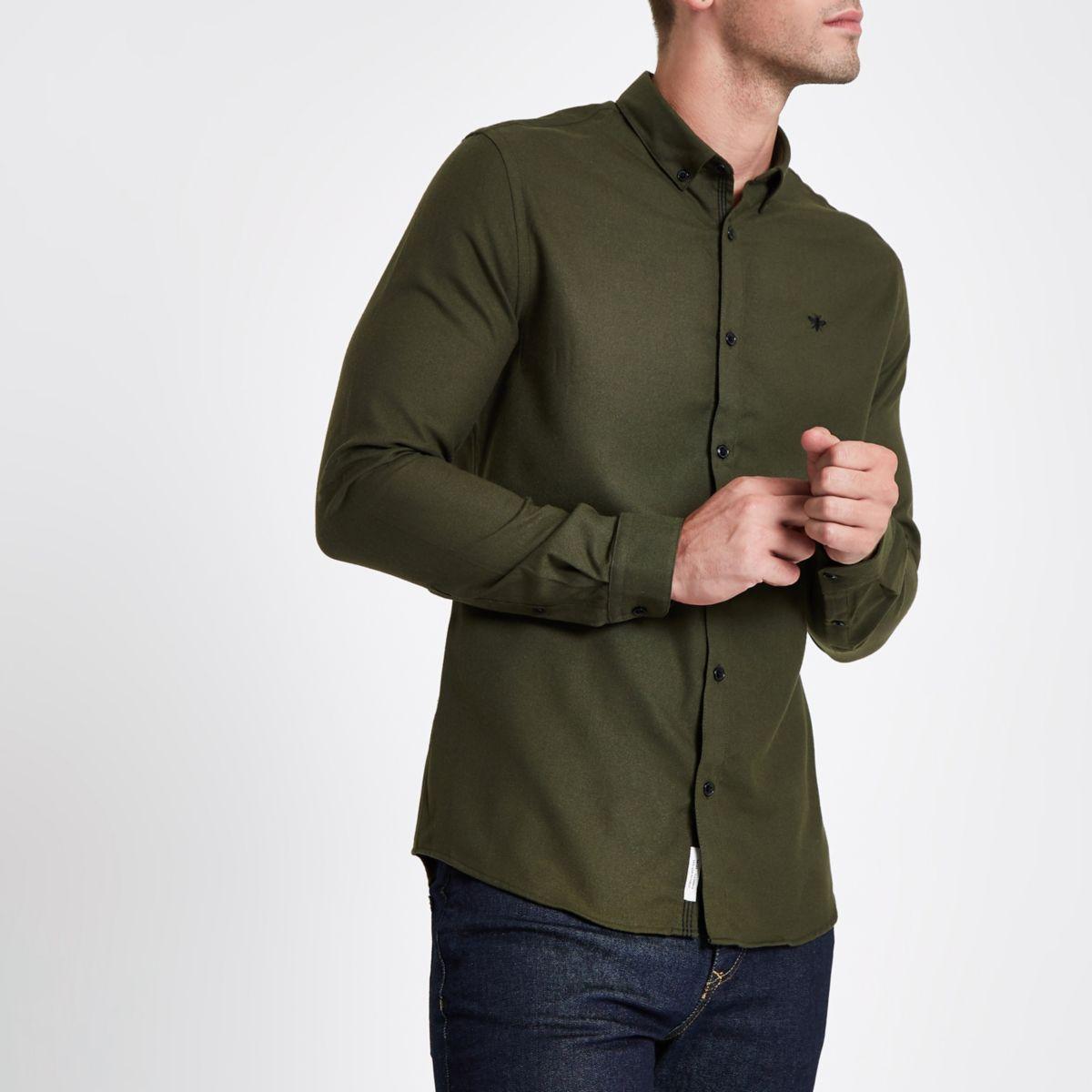 Khaki wasp embroidered long sleeve shirt