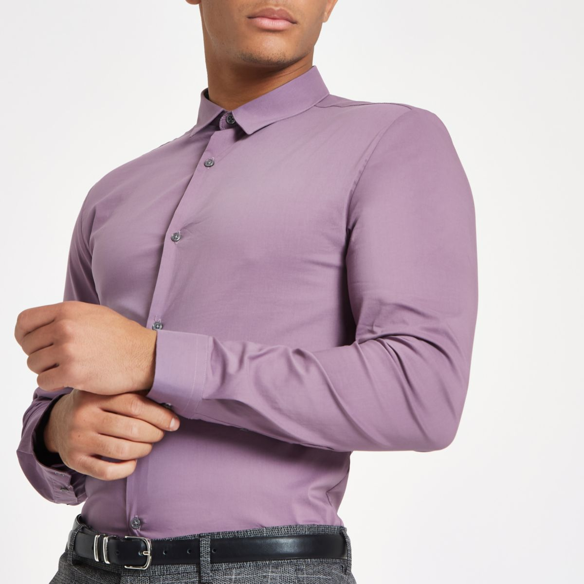 Purple muscle fit long sleeve shirt
