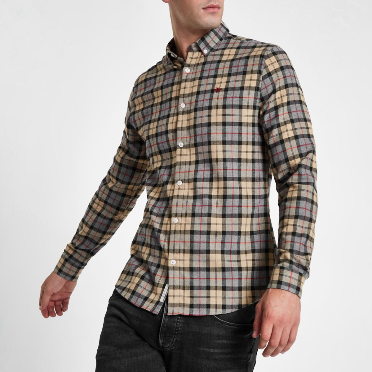 Stone check wasp embroidered button up shirt
