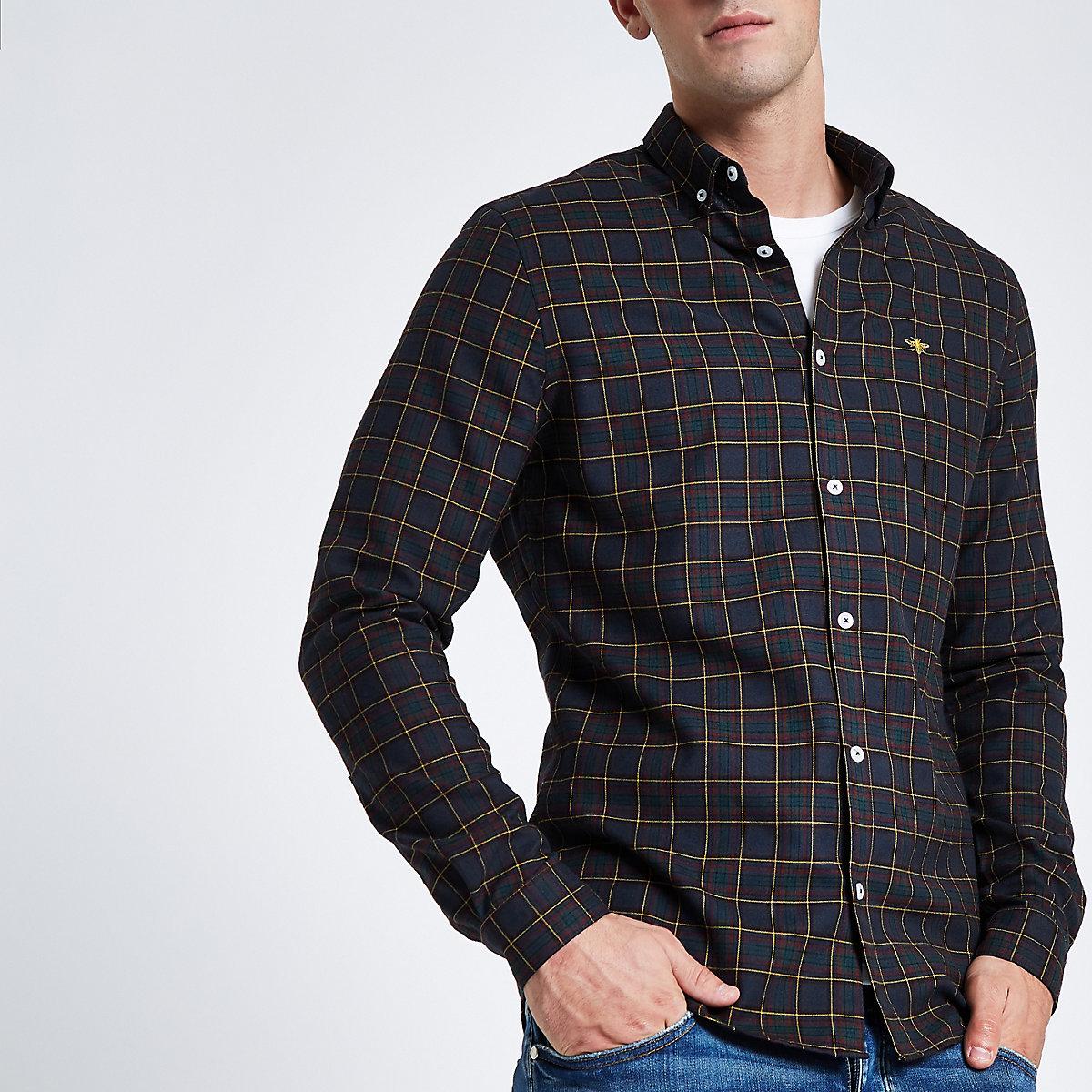 Navy wasp embroidered long sleeve check shirt