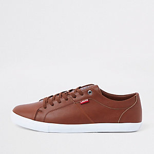 Levi brown leather lace-up sneakers