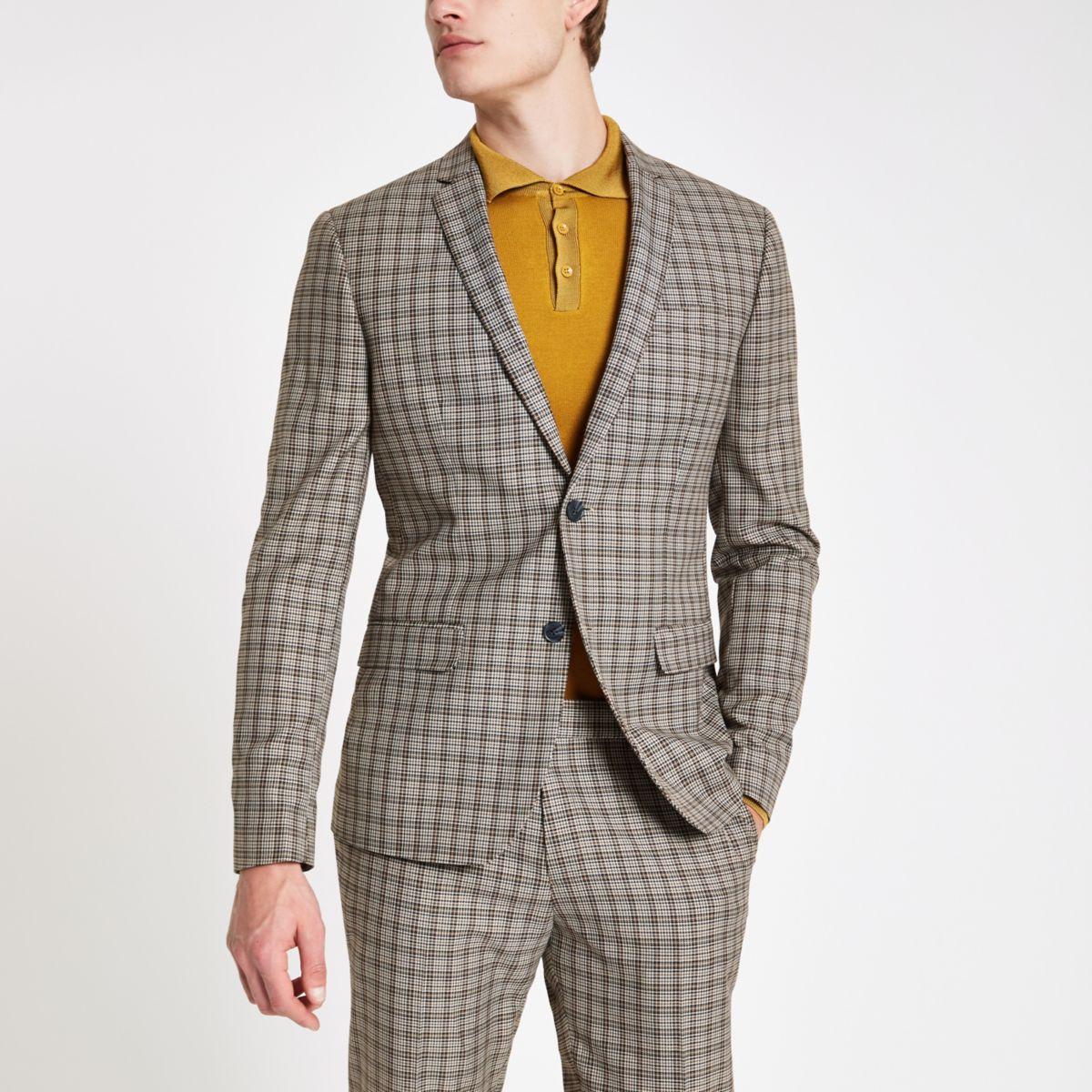 Ecru check skinny fit suit jacket
