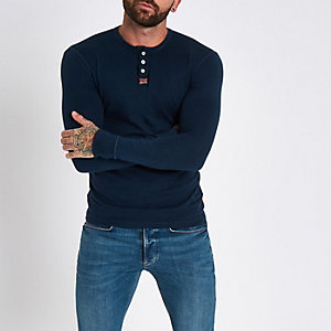 Superdry muscle fit long sleeve grandad top