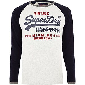 Superdry blue 'Premium Goods' long sleeve top