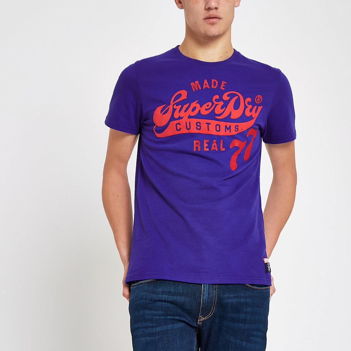 Superdry blue classic logo print T-shirt