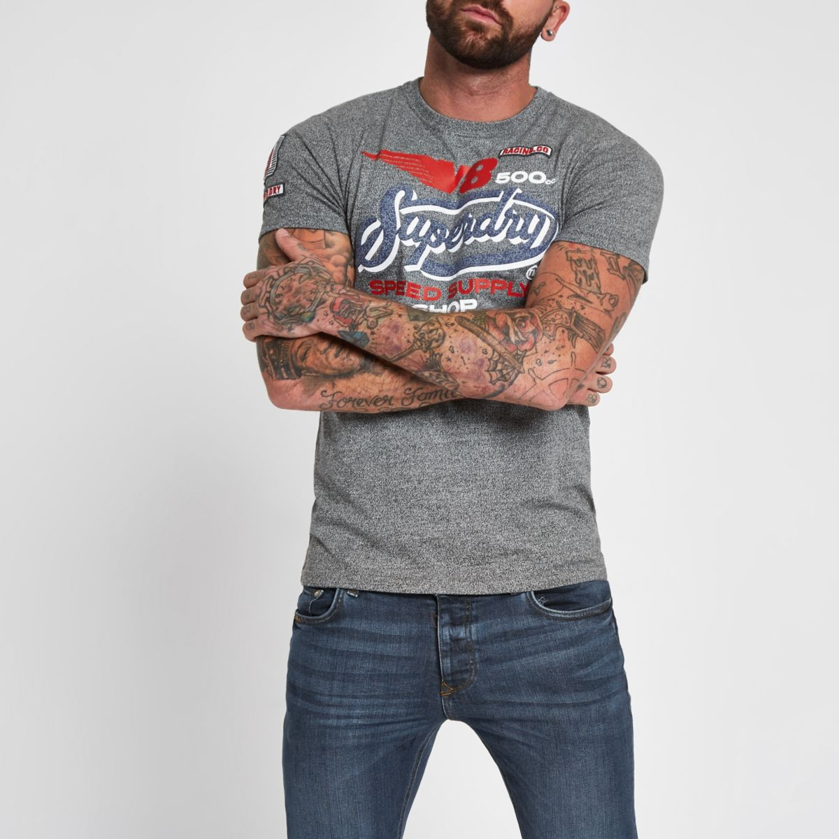 Superdry grey 'V8' T-shirt