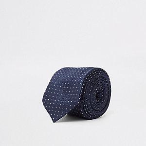 Cravate bleu marine à pois
