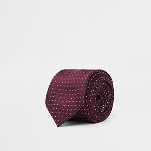 Cravate rouge à pois
