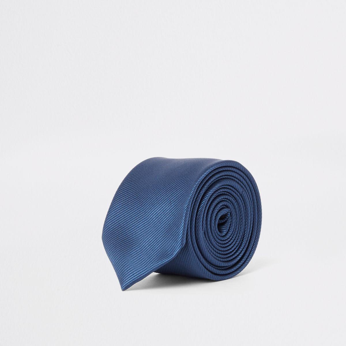 Blue twill textured tie
