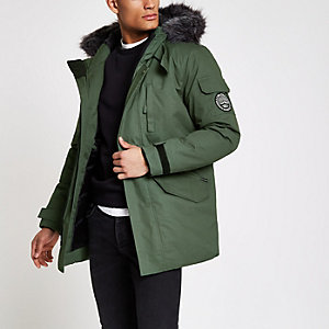 Bellfield green faux fur trim parka coat