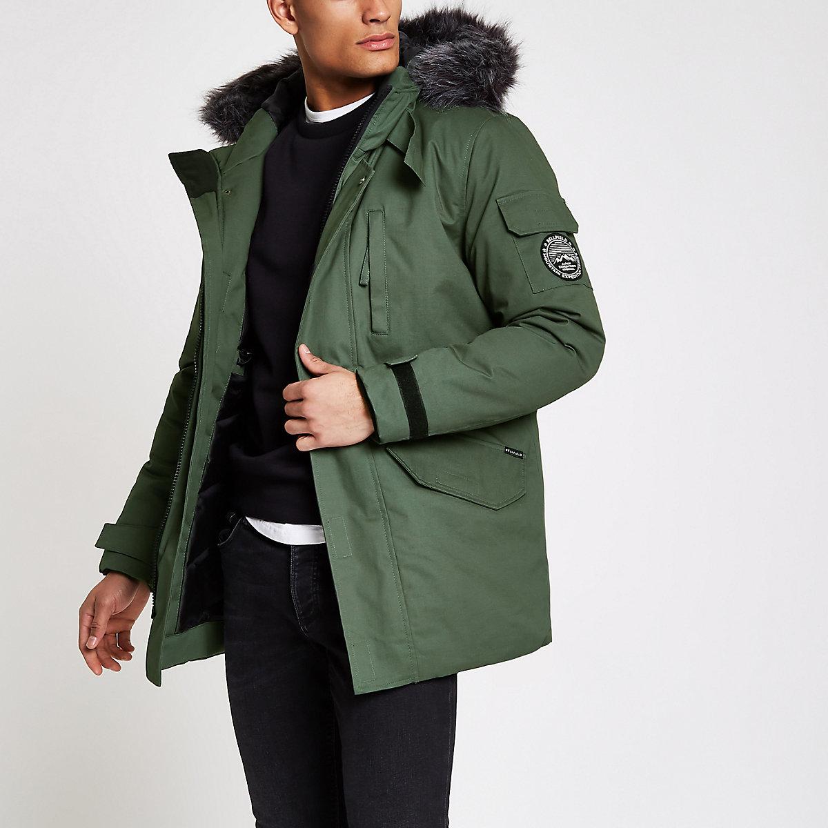 Bellfield green faux fur trim parka coat
