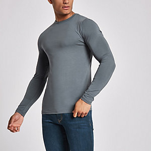 Dark grey muscle fit long sleeve top