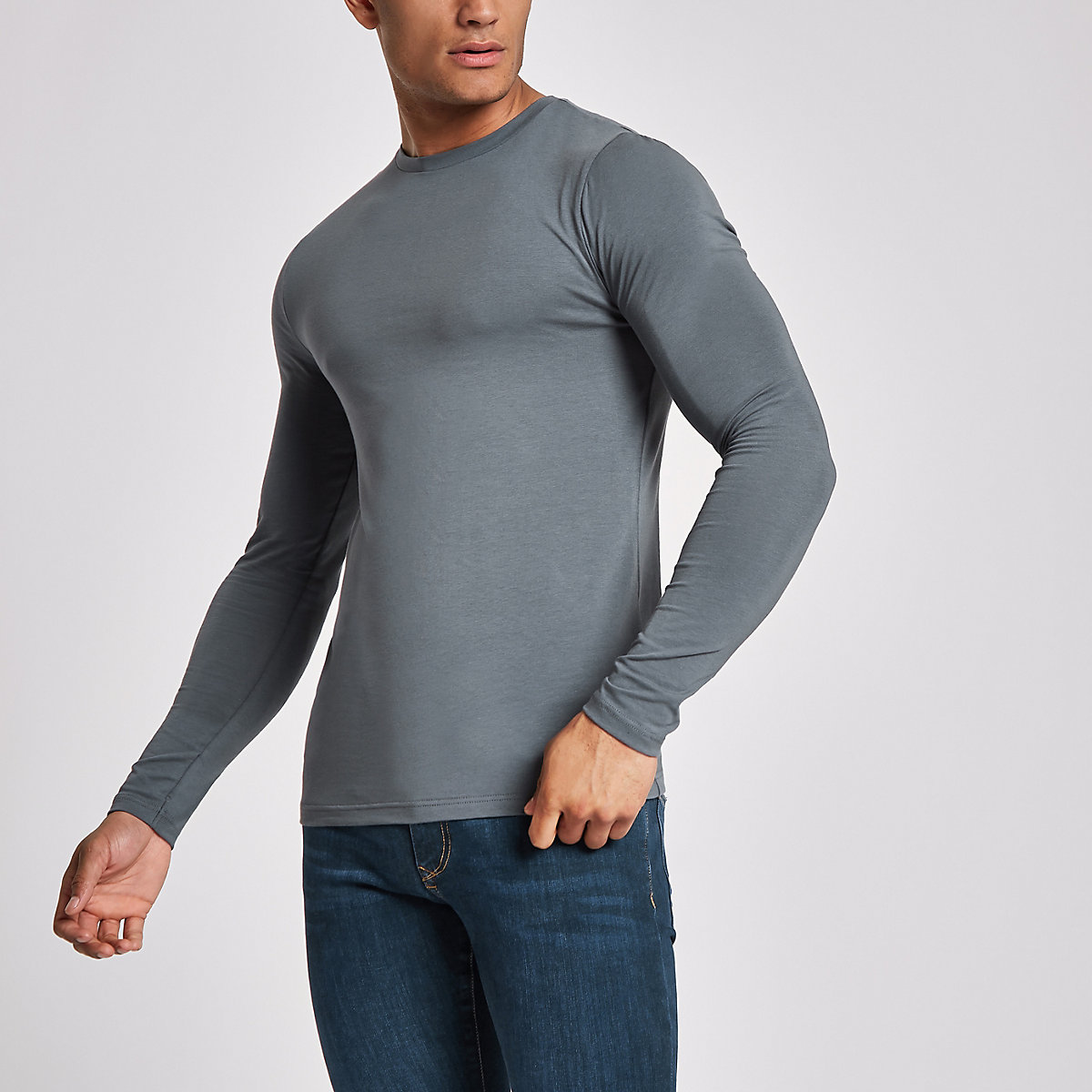Dunkelgraues, langärmliges Muscle Fit T-Shirt