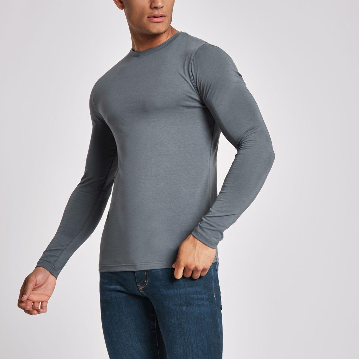Dark grey muscle fit long sleeve top