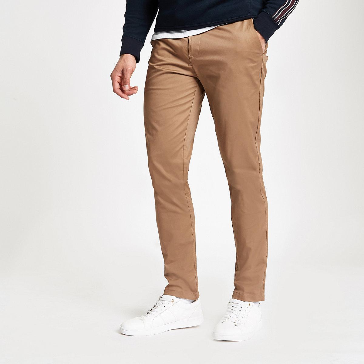 Tan slim fit chino pants