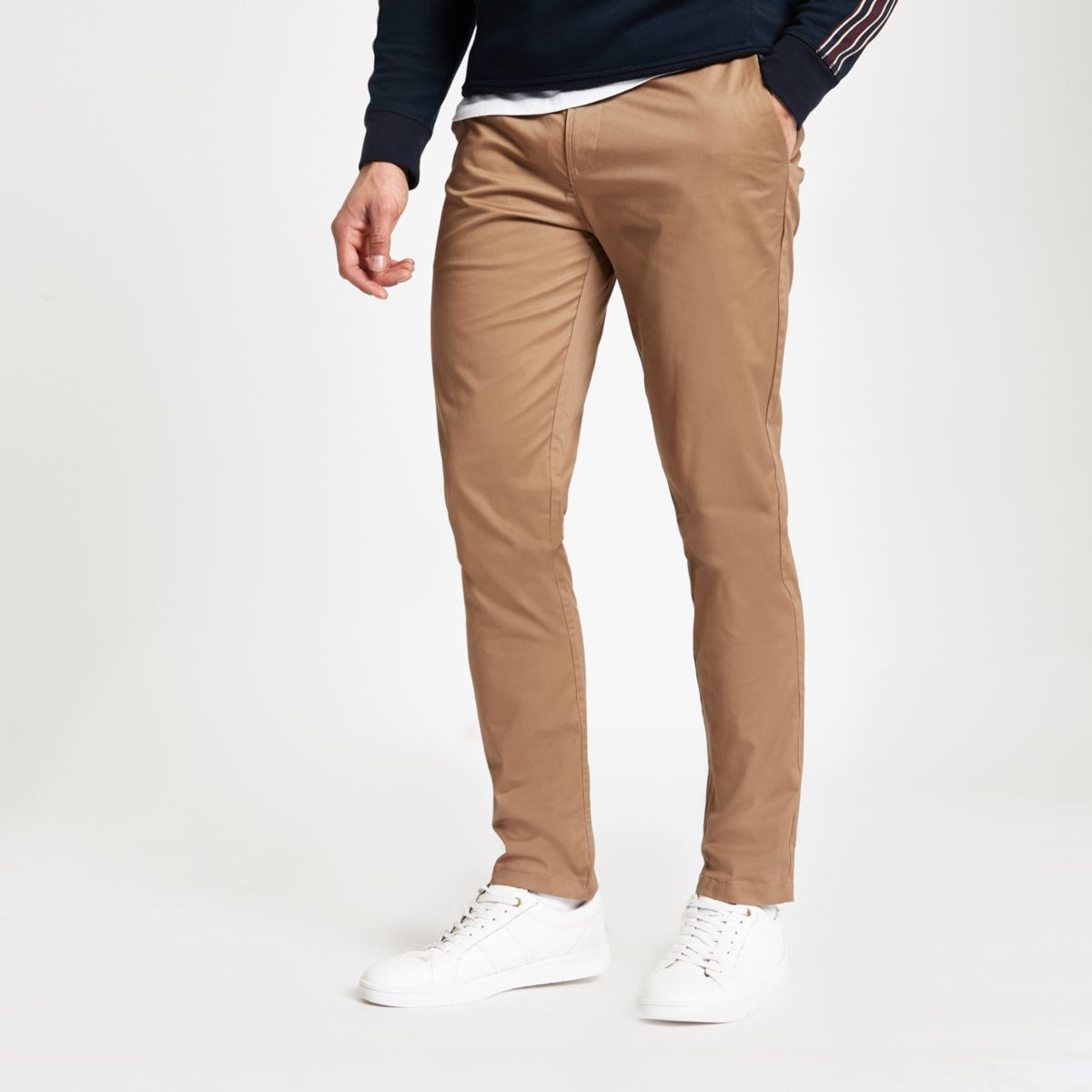 Light brown slim fit chino pants
