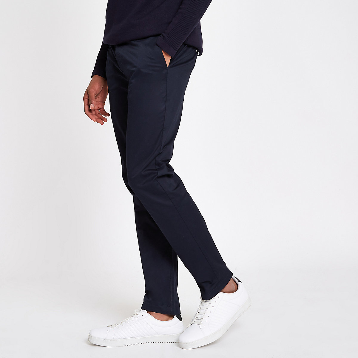 Navy slim fit chino pants