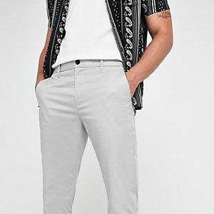 Pantalon chino slim grège