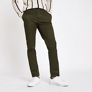 Khaki green Dylan slim fit trousers