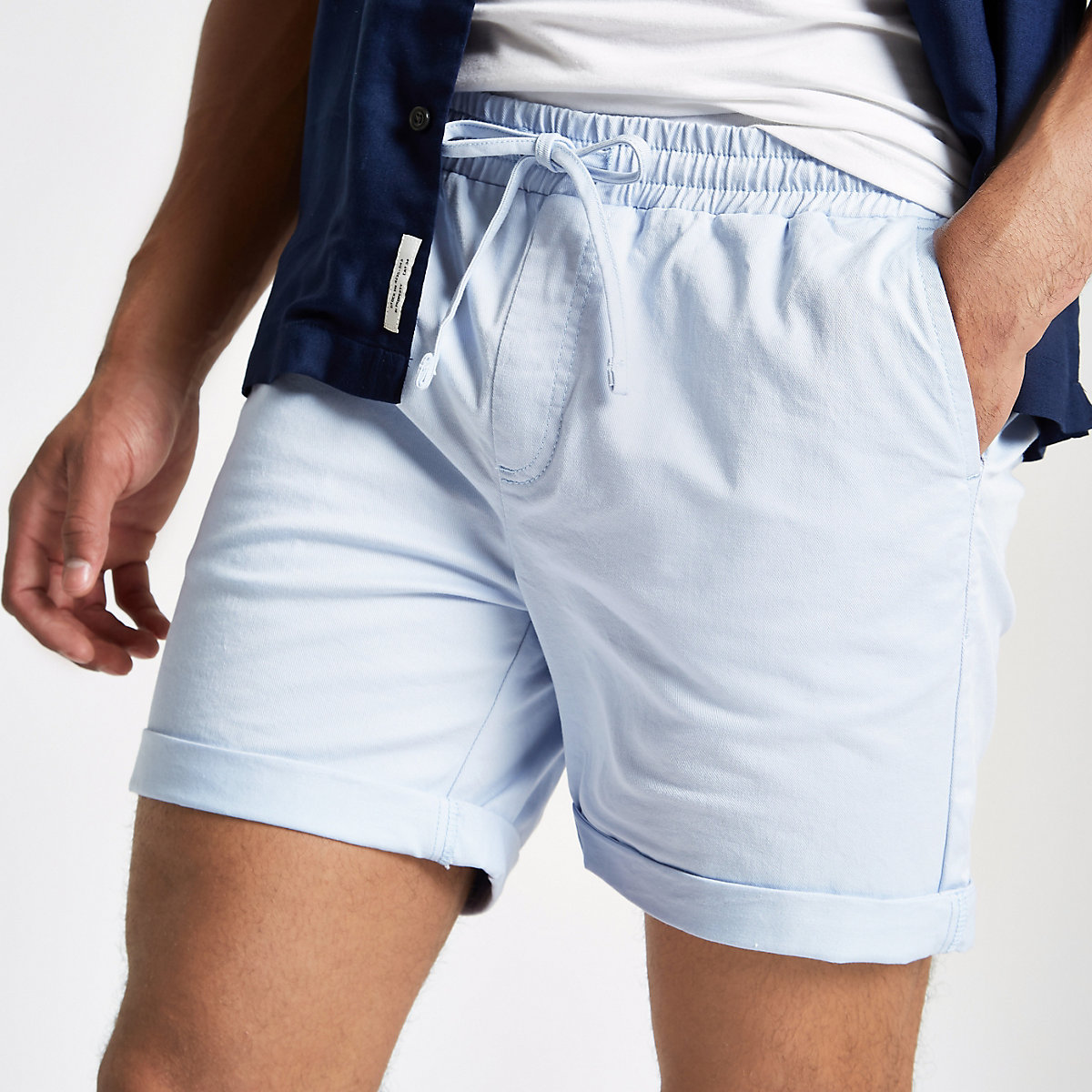 Light blue drawstring pull on shorts