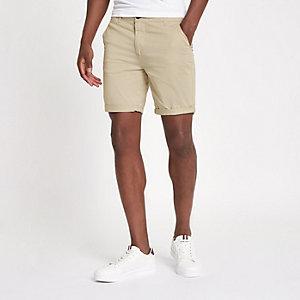 Hellbraune Skinny Fit Shorts