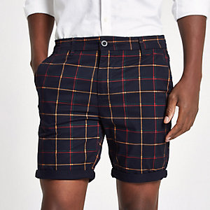 Navy check turn-up hem skinny fit shorts