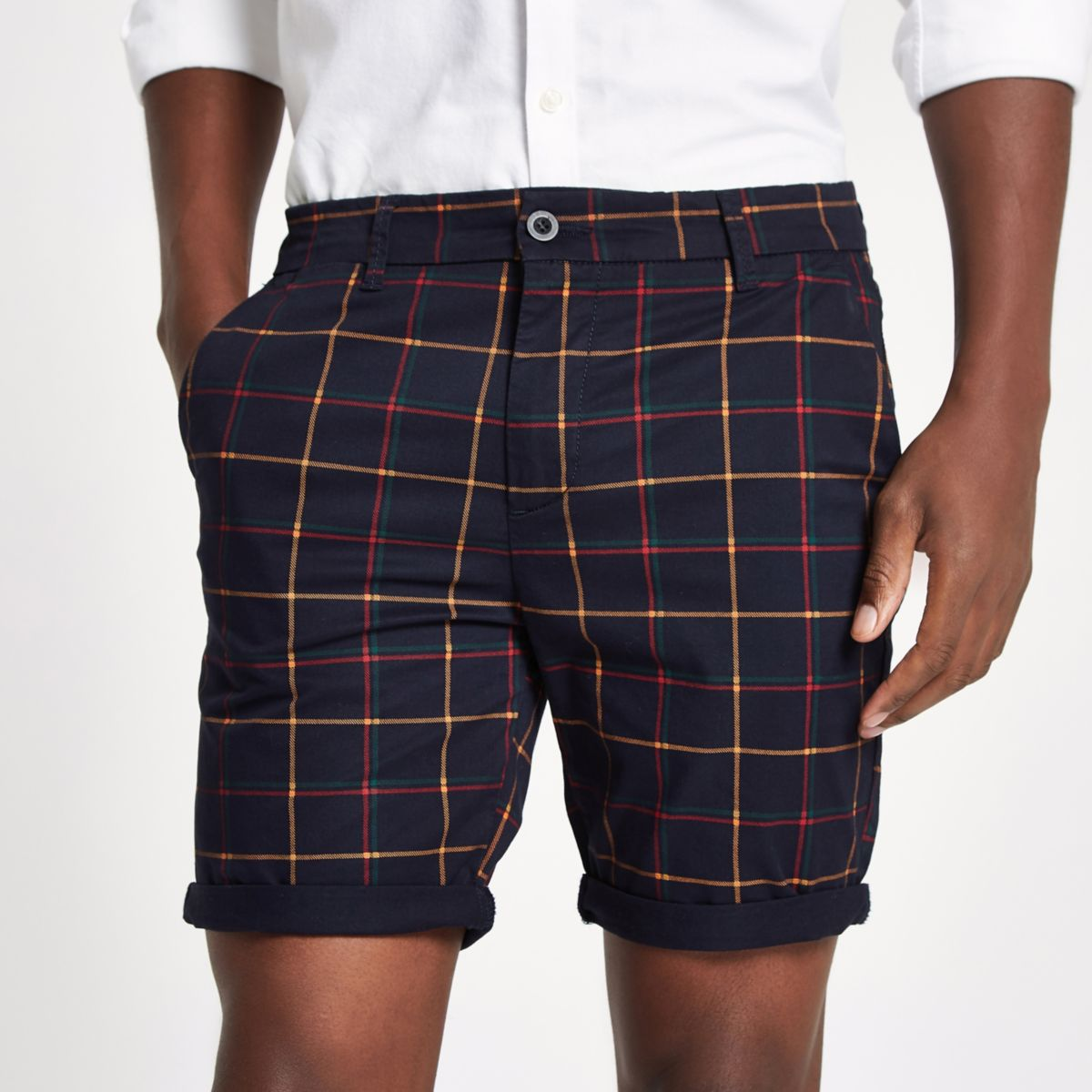 Navy check turn-up hem skinny fit shorts