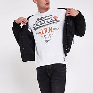 Superdry – T-shirt ras-du-cou blanc vintage
