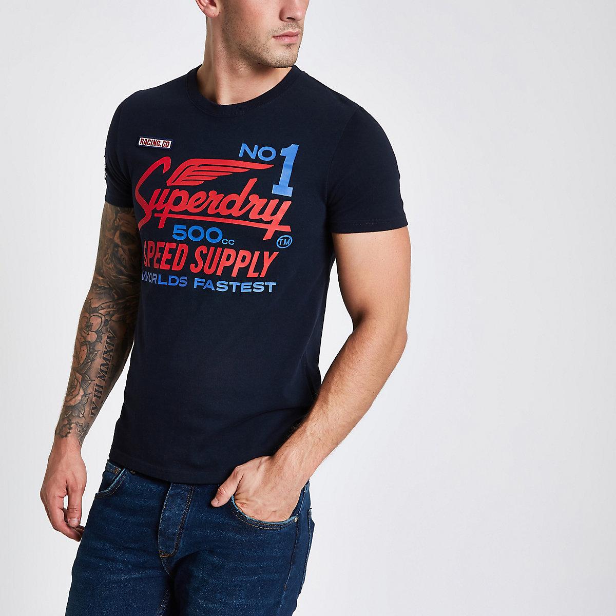 Superdry navy logo print crew neck T-shirt