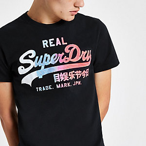 Superdry black vintage logo print T-shirt